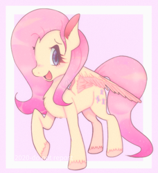 Size: 1503x1647 | Tagged: safe, artist:killrcl0wn, artist:nyaco, fluttershy, pegasus, pony, chest fluff, cute, ear fluff, female, looking at you, mare, open mouth, raised hoof, shyabetes, smiling, solo, spread wings, standing, three quarter view, unshorn fetlocks, wings