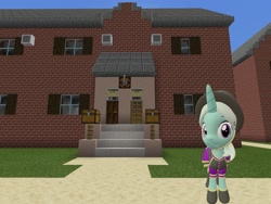 Size: 2048x1536 | Tagged: safe, artist:topsangtheman, cornetta, pony, unicorn, 3d, clothes, hat, house, looking at you, minecraft, photoshopped into minecraft, sfm pony, solo, source filmmaker, uniform