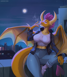 Size: 1049x1200 | Tagged: safe, artist:margony, smolder, anthro, dragon, breasts, busty smolder, cigarette, clothes, eyes closed, female, full moon, jacket, moon, night, shirt, shoes, smoking, solo, wide hips