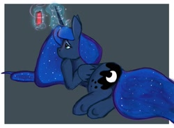 Size: 1881x1391 | Tagged: safe, artist:dummyhorse, princess luna, alicorn, pony, cellphone, female, folded wings, frame, glowing horn, gray background, horn, lonely, looking at something, looking up, magic, mare, phone, prone, sad, simple background, smartphone, solo, wings