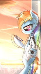 Size: 720x1280 | Tagged: safe, artist:phoenixrk49, rainbow dash, pegasus, semi-anthro, bipedal, cellphone, chest fluff, clothes, crepuscular rays, folded wings, headphones, hoof hold, leaning, listening, phone, profile, smartphone, solo, watch, wings, wristwatch
