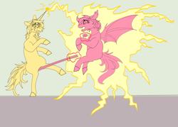 Size: 4211x3015   Tagged: safe, oc, bat pony, pony, unicorn, fallout equestria, comedy, crotch shot, electricity, fight, foe, monochrome, spell
