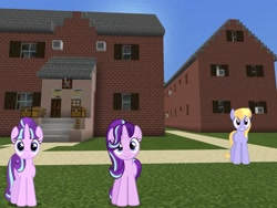Size: 2048x1536 | Tagged: safe, artist:bluemeganium, artist:topsangtheman, artist:xebck, cloud kicker, starlight glimmer, pegasus, pony, unicorn, house, looking at you, minecraft, photoshopped into minecraft, self ponidox, this will end in timeline distortion