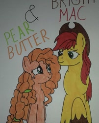 Size: 750x929 | Tagged: safe, artist:electric spark, bright mac, pear butter, earth pony, pony, the perfect pear, braid, brightbutter, cowboy hat, female, hat, looking at each other, male, mare, shipping, simple background, smiling, stallion, straight, text, traditional art, walking, white background