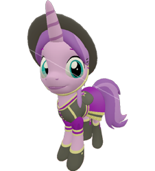 Size: 650x720 | Tagged: safe, artist:topsangtheman, amethyst star, sparkler, pony, unicorn, 3d, clothes, hat, looking at you, simple background, solo, source filmmaker, transparent background, uniform