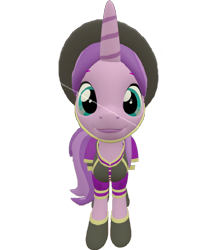 Size: 626x720 | Tagged: safe, artist:topsangtheman, amethyst star, sparkler, pony, unicorn, 3d, clothes, hat, looking at you, simple background, solo, source filmmaker, transparent background, uniform