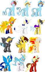 Size: 1935x3098 | Tagged: safe, artist:dewa-chan, articuno, azelf, ho-oh, jirachi, kyurem, lugia, mesprit, moltres, pony, raikou, uxie, zapdos, zekrom, hetalia, horn, mane of fire, pokémon, ponified, simple background, species swap, white background, wings