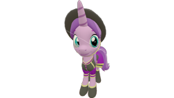 Size: 1280x720 | Tagged: safe, artist:topsangtheman, amethyst star, cornetta, sparkler, pony, unicorn, 3d, clothes, hat, looking at you, simple background, solo, source filmmaker, transparent background, uniform