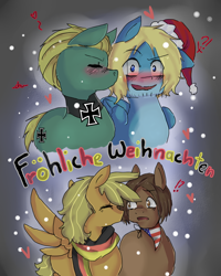 Size: 800x1000 | Tagged: safe, artist:ask-pony-gerita, earth pony, pegasus, pony, ask, beard, blushing, christmas, exclamation point, eyes closed, facial hair, gay, germany, hat, heart, hetalia, holiday, interrobang, jewelry, kissing, male, merry christmas, necklace, open mouth, ponified, question mark, santa hat, stallion, surprised