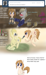 Size: 695x1111 | Tagged: safe, artist:askponybrandenburg, earth pony, pegasus, pony, alcohol, ask, beer, beer mug, blushing, brandenburg, clothes, comic, drunk, female, flying, germany, hetalia, male, mare, mouth hold, necktie, ponified, prone, prussia, stallion