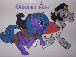 Size: 592x440 | Tagged: safe, artist:electric spark, king sombra, radiant hope, pony, unicorn, idw, cape, clothes, crown, eye contact, grin, hopebra, jewelry, looking at each other, reformed sombra, regalia, running, shipping, simple background, smiling, sombra's cape, straight, text, traditional art, white background