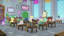 Size: 1920x1080 | Tagged: safe, screencap, end zone, huckleberry, starlight glimmer, summer breeze, violet twirl, yona, earth pony, pegasus, pony, unicorn, yak, a horse shoe-in, classroom, cloven hooves, desk, female, friendship student, magic, magic aura, mare, telekinesis