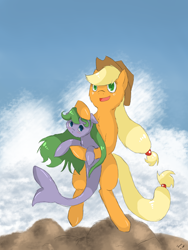 Size: 2400x3200   Tagged: safe, artist:tomat-in-cup, oc, earth pony, original species, pony, shark, shark pony, bipedal, duo, female, hat, holding a pony, mare, open mouth, petting, smiling