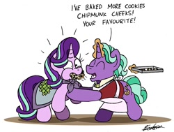 Size: 1024x775 | Tagged: safe, artist:bobthedalek, firelight, starlight glimmer, pony, unicorn, apron, blanket, chipmunk cheeks, clothes, cookie, father and child, father and daughter, fathers gonna father, female, food, jacket, male, newbie artist training grounds
