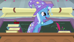 Size: 1920x1080 | Tagged: safe, screencap, trixie, pony, a horse shoe-in, cape, clothes, cute, diatrixes, female, hat, mare, raised hoof, solo, trixie's cape, trixie's hat