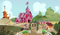 Size: 3663x2160 | Tagged: safe, assets, background, barn, carrot house, chicken coop, corn field, farm, no pony, partly cloudy, sweet apple acres, sweet apple acres barn, wallpaper, well