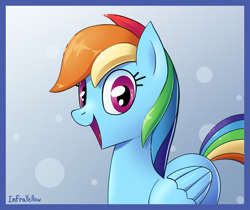 Size: 1300x1093 | Tagged: safe, artist:infrayellow, rainbow dash, pegasus, pony, female, looking at you, mare, open mouth, smiling, solo