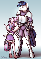 Size: 1400x2000 | Tagged: safe, artist:ohemo, princess flurry heart, shining armor, alicorn, anthro, unguligrade anthro, unicorn, :o, abstract background, armor, atg 2020, eyes closed, father and child, father and daughter, female, grin, male, namesake, newbie artist training grounds, open mouth, reflection, smiling, sword, weapon