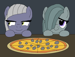 Size: 1000x750 | Tagged: safe, artist:nopony, limestone pie, marble pie, earth pony, pony, atg 2020, cute, duo, female, food, hooves on the table, limabetes, marblebetes, mare, newbie artist training grounds, pie sisters, pizza, rock, siblings, sisters