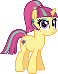 Size: 5000x6298 | Tagged: safe, artist:n0kkun, sour sweet, pony, unicorn, commission, disguise, disguised changeling, ear piercing, earring, equestria girls ponified, eyeshadow, female, freckles, jewelry, makeup, mare, piercing, ponified, simple background, smiling, smirk, solo, transparent background