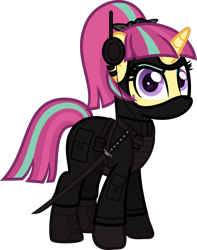 Size: 5000x6334 | Tagged: safe, artist:n0kkun, sour sweet, pony, unicorn, armor, belt, body armor, boots, clothes, commission, disguise, disguised changeling, ear piercing, earring, equestria girls ponified, eyeshadow, female, freckles, gloves, headset, jacket, jewelry, katana, makeup, mare, mask, ninja, pants, piercing, ponified, shoes, simple background, smiling, smirk, solo, sword, transparent background, weapon