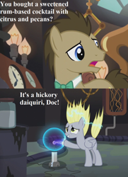 Size: 832x1152 | Tagged: safe, edit, edited screencap, screencap, derpy hooves, doctor whooves, time turner, earth pony, pegasus, pony, slice of life (episode), cropped, cute, derpabetes, dialogue, doctor whooves' lab, duo, female, male, mare, plasma ball, pun, stallion