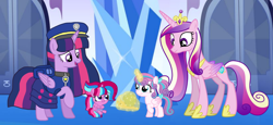 Size: 2340x1080 | Tagged: safe, artist:徐詩珮, princess cadance, princess flurry heart, twilight sparkle, whammy, oc, oc:bubble sparkle, alicorn, pony, bubbleverse, series:sprglitemplight diary, series:sprglitemplight life jacket days, series:springshadowdrops diary, series:springshadowdrops life jacket days, alternate universe, aunt and niece, auntie twilight, baby, baby pony, base used, chase (paw patrol), clothes, cousins, cute, female, filly, filly flurry heart, magical lesbian spawn, magical threesome spawn, mother and child, mother and daughter, multiple parents, next generation, offspring, older, older flurry heart, parent:glitter drops, parent:spring rain, parent:tempest shadow, parent:twilight sparkle, parents:glittershadow, parents:sprglitemplight, parents:springdrops, parents:springshadow, parents:springshadowdrops, paw patrol, twilight sparkle (alicorn)