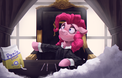 Size: 4000x2550 | Tagged: safe, artist:vanillaghosties, pinkie pie, earth pony, pony, chair, clothes, food, implied drug use, newbie artist training grounds, scarface, shirt, smiling, solo, sugar (food), suit