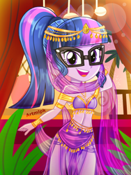 Size: 1800x2400 | Tagged: safe, artist:artmlpk, sci-twi, twilight sparkle, genie, equestria girls, adorable face, adorasexy, adorkable, balcony, bare chest, bare shoulders, beautiful, belly dancer outfit, chair, clothes, crown, cute, dancing, design, digital art, dork, egyptian, fanart, glasses, goddess, gold, hair, jewelry, leaf, looking at you, open mouth, outfit, palm tree, pillow, plant, ponytail, regalia, sexy, skirt, smiley face, smiling, smiling at you, solo, tree, twiabetes, watermark