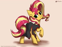 Size: 2048x1536 | Tagged: safe, alternate version, artist:tinybenz, sunset shimmer, pony, unicorn, cheongsam, clothes, cute, female, looking at you, looking back, mare, raised leg, shimmerbetes, side slit, smiling, solo