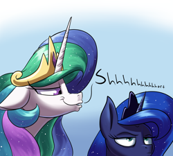 Size: 2000x1800   Tagged: safe, artist:rocket-lawnchair, princess celestia, princess luna, alicorn, pony, atg 2020, crown, duo, female, floppy ears, gradient background, jewelry, luna is not amused, mare, newbie artist training grounds, regalia, royal sisters, shhh, siblings, sisters, unamused