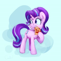 Size: 2700x2700 | Tagged: safe, artist:aemantaslim, starlight glimmer, pony, unicorn, atg 2020, eating, everything is ruined, food, newbie artist training grounds, pineapple pizza, pizza, solo, that pony sure does love pineapple pizza