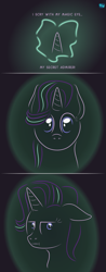 Size: 451x1155 | Tagged: safe, artist:quint-t-w, starlight glimmer, pony, unicorn, :i, atg 2020, breaking the fourth wall, bust, comic, female, floppy ears, gradient background, horn, i mean i see, looking at you, magic, minimalist, modern art, newbie artist training grounds, solo