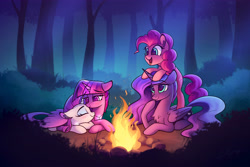 Size: 5250x3500 | Tagged: safe, artist:lollipony, pinkie pie, princess luna, rarity, twilight sparkle, alicorn, earth pony, pony, unicorn, fanfic:the enchanted kingdom, blushing, campfire, chest fluff, commission, cuddling, digital art, ear fluff, fanfic art, female, fire, floppy ears, forest, glowing horn, happy, horn, hug, jewelry, lesbian, looking down, looking up, lying down, magic, mare, necklace, night, open mouth, prone, raised hoof, rarilight, scenery, shipping, sleeping, smiling, twilight sparkle (alicorn), winghug