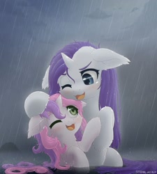 Size: 1600x1778 | Tagged: safe, artist:symbianl, rarity, sweetie belle, pony, unicorn, belle sisters, blushing, cute, diasweetes, duo, ear fluff, female, filly, floppy ears, leg fluff, mare, neck fluff, one eye closed, open mouth, playing, rain, raribetes, siblings, sisters, symbianl is trying to murder us, water, weapons-grade cute, wet, wet mane, wet mane rarity