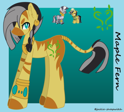Size: 1280x1153 | Tagged: safe, artist:jackie-sheepwitch, daring do, zecora, hybrid, pegasus, zebra, zony, bracelet, colored hooves, crack shipping, ear piercing, earring, female, hat, interspecies offspring, jewelry, leonine tail, magical lesbian spawn, male, mare, neck rings, offspring, parent:daring do, parent:zecora, parents:daringcora, piercing, pith helmet, shipping, stallion