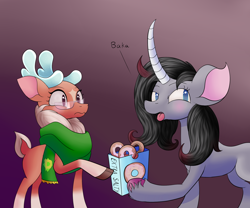 Size: 1800x1500   Tagged: safe, artist:huffy26, cashmere (tfh), oleander, classical unicorn, deer, reindeer, unicorn, them's fightin' herds, atg 2020, bag, baka, blushing, clothes, cloven hooves, community related, donut, female, food, glasses, hoof hold, implied cashleander, leonine tail, lesbian, newbie artist training grounds, oleandere, open mouth, scarf, shipping, tongue out, tsundere, unshorn fetlocks