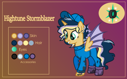 Size: 3999x2507   Tagged: safe, alternate version, artist:n0kkun, oc, oc only, oc:hightune stormblazer, alicorn, bat pony, bat pony alicorn, pony, icey-verse, alicorn oc, bat pony oc, bat wings, clothes, commission, ear piercing, earring, female, gradient background, grin, hat, horn, jewelry, jumpsuit, lip piercing, mare, mechanic, multicolored hair, nose piercing, offspring, oil, parent:oc:elizabat stormfeather, parent:oc:trail blazer (ice1517), parents:oc x oc, piercing, raised hoof, reference sheet, smiling, solo, tattoo, wings