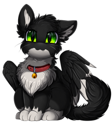Size: 3069x3365 | Tagged: safe, artist:pridark, oc, oc only, cat, cat pony, original species, bell, cat bell, chest fluff, collar, commission, cute, cute little fangs, ear fluff, fangs, fluffy, green eyes, high res, neko pony, ocbetes, paws, simple background, sitting, solo, transparent background, whiskers, wings