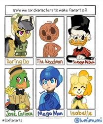 Size: 1080x1290   Tagged: safe, artist:lumimumi, daring do, anthro, bird, dog, parrot, pegasus, pony, six fanarts, animal crossing, anthro with ponies, boater, bowtie, bust, cane, clothes, crossover, eyes closed, female, hat, isabelle, jose carioca, male, mare, megaman, megaman (character), pith helmet, scrooge mcduck, shih tzu, smiling, top hat, umbrella, waving, woodman