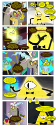 Size: 868x1959 | Tagged: safe, artist:dziadek1990, edit, edited screencap, screencap, discord, bad joke, bad pun, bill cipher, comic, conversation, crossover, dialogue, gravity falls, lightbulb, magic, pun, requested art, screencap comic, text, visual pun