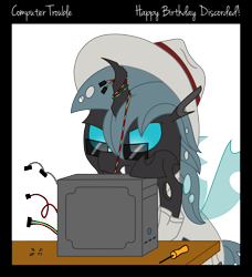 Size: 2100x2300 | Tagged: safe, artist:djdavid98, oc, oc only, oc:carbon copy, changeling, pony, birthday gift, border, cable, changeling oc, clothes, colored lineart, computer, glasses, hat, horn, screwdriver, screws, simple background, solo, table, text, transparent background, wings