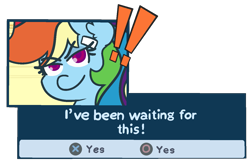 Size: 1363x890 | Tagged: safe, artist:threetwotwo32232, rainbow dash, pegasus, pony, 4chan, drawthread, female, persona, playstation, ponified, simple background, solo, text, transparent background, video game, video game crossover