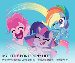 Size: 389x325   Tagged: safe, pinkie pie, rainbow dash, twilight sparkle, alicorn, earth pony, pegasus, pony, my little pony: pony life, canada, schedule, treehouse tv, twilight sparkle (alicorn)