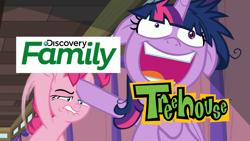 Size: 1920x1080 | Tagged: safe, edit, edited screencap, screencap, pinkie pie, twilight sparkle, alicorn, earth pony, pony, a trivial pursuit, discovery family, meme, treehouse tv, twilight sparkle (alicorn)