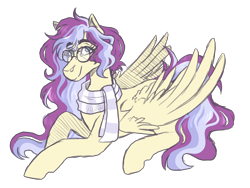 Size: 2000x1500   Tagged: safe, artist:kikirdcz, oc, oc:serenity sound, pegasus, pony, clothes, female, mare, prone, scarf, simple background, solo, transparent background