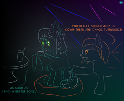 Size: 920x750 | Tagged: safe, artist:quint-t-w, oc, oc only, oc:flare, oc:turbulence, bat pony, pony, atg 2020, bat pony oc, bat wings, cellphone, dialogue, disco, ear tufts, fangs, female, glass, gradient background, headphones, minimalist, modern art, newbie artist training grounds, phone, pillow, sitting, smartphone, straw, table, talking, wing hold, wings