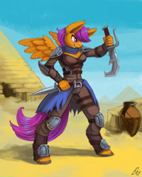 Size: 960x1200 | Tagged: safe, artist:lexx2dot0, scootaloo, anthro, pegasus, unguligrade anthro, assassin, colored hooves, dagger, desert, female, pyramid, smiling, solo, vase, weapon