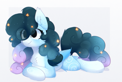Size: 1305x882 | Tagged: safe, artist:little-sketches, part of a set, oc, oc only, oc:stellar constellation, pegasus, pony, chest fluff, commission, ear fluff, ethereal mane, eye clipping through hair, female, mare, prone, simple background, solo, starry mane, two toned wings, white background, wings, ych result