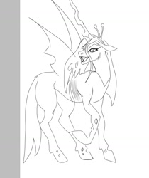 Size: 1080x1288 | Tagged: safe, alternate version, artist:_kingplantae_, queen chrysalis, changeling, changeling queen, female, lineart, open mouth, raised hoof, sharp teeth, solo, teeth